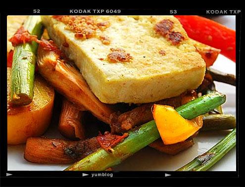 Tofu Steak with Stir Fried Summer Vegetables