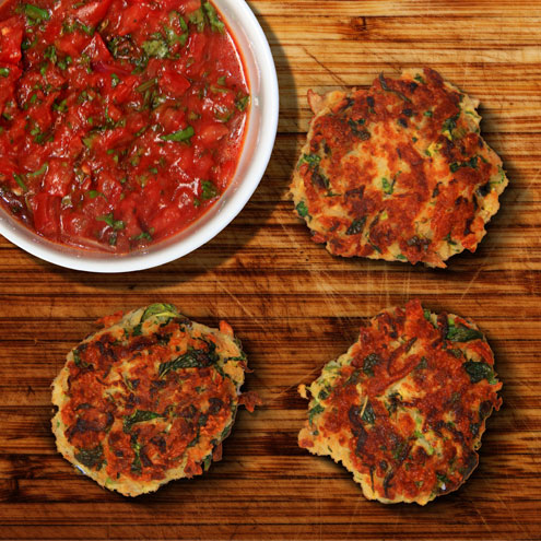 Courgette & halloumi falafels with spicy tomato salsa